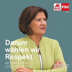 Darum wählen wir Respekt - Kampagnenbild zur AK Wien Wahl 2019