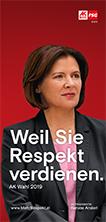 """Folder der FSG AK Wien zur AK-Wien Wahl 2019 """"Weil Sie Respekt verdienen"""""""